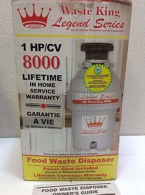 Waste King Legend 8000 1 Hp Garbage Disposer New In Box