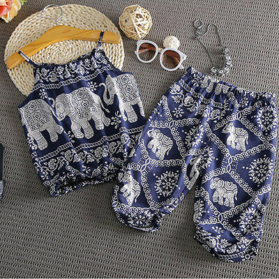 Hot Summer Clothes Baby Kids Girls Elephant Vest Tops+Long Pants Set Suit Outfit