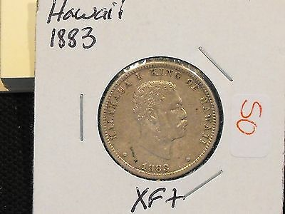 1883 Hawaii quarter in XF condition - Free US shipping.