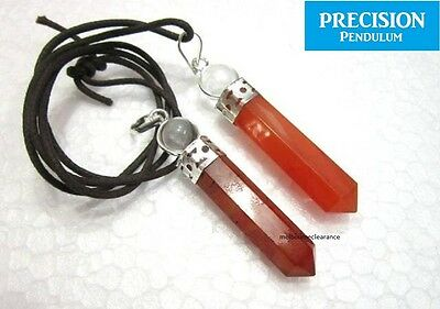 Red Carnelian with Quartz Crystal Ball Top Precision Pendulum Pendant Necklace
