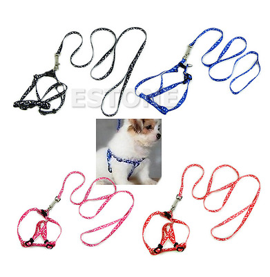 Small Dog Pet Puppy Cat Adjustable Nylon Harness with Lead leash 5 Colors1