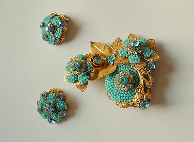 versatile Stanley Hagler N.Y.C. clip earrings pin brooch set