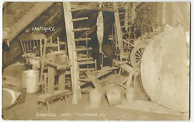 Great 1920's Real Photo Postcard of Primitives & Antiques in Coolidge's Vt Attic