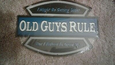 NEW COLLECTABLE Old Guys Rule Wall Plaque SIGN  (Tin)+(Metal) MAN CAVE GARAGE