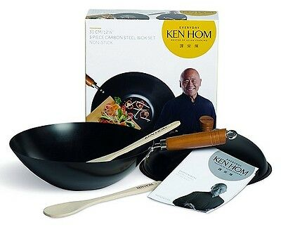 Ken Hom Everyday Non-Stick Wok With Lid 31cm Carbon Steel 5 Piece Set Stirfry