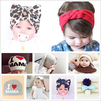 Newborn Baby Girl Headband Ribbon Elastic Headdress Kids Hair Band Bow Knot New