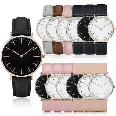 Women Men Gold Silver Frame Quartz Analog Watch Leather Wrist Watches Gift