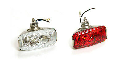 Classic Car Retro Rear Stainless Fog & Reverse Lamp Ford Mini Glass Pair Y3277/8