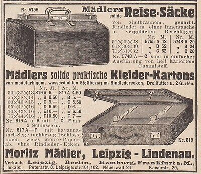 1909 Print Ad Moritz Maedler Tourist Bags Solid Practical Dressers Cases