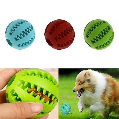 Holder Treat Rubber Ball Training Chew Bite Pet Dog Puppy Cat Toy Dispensing