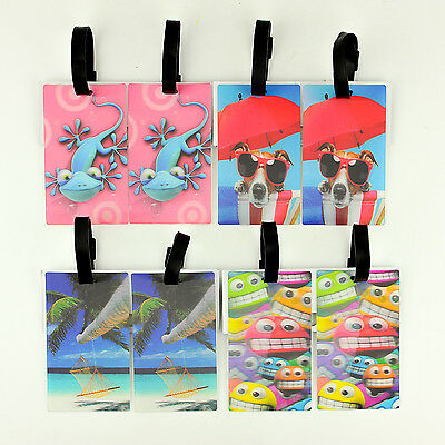 2 x 3D Plastic Suitcase Luggage Id Tags Labels Name Address Suitcase Bag Travel