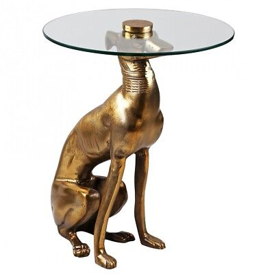 FineBuy Design coffee table Deco Side table Figure DOG Aluminum Color Gold NEW