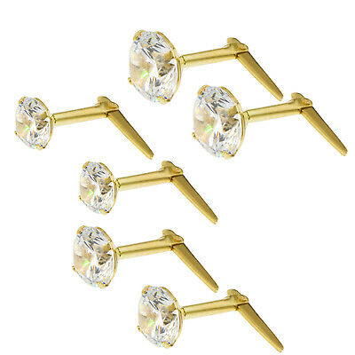 9Ct Gold Andralok White Cubic Zirconia Ball Round Stud Earrings 3 3.5 5Mm Box