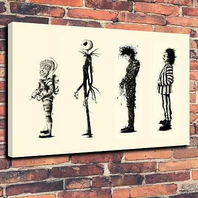 "Tim Burton Edward Scissorhands, etc Printed Canvas A1.30""x20""-Deep 30mm Frame"