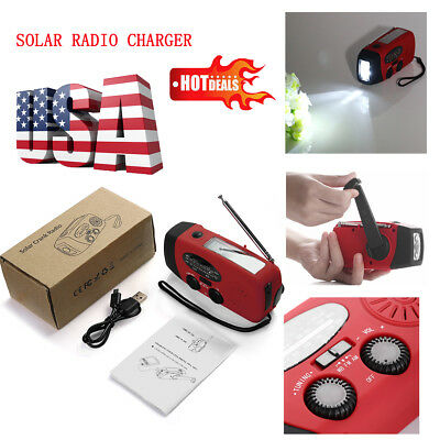 Emergency Solar Hand Crank Dynamo AM/FM/WB Weather Radio LED Flashlight Charger