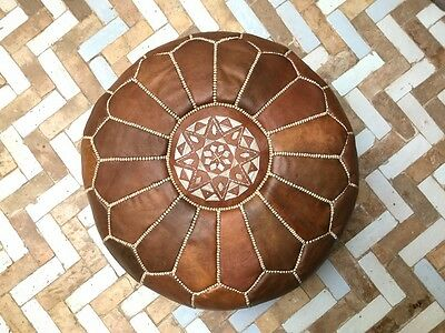 Moroccan leather pouf brown /  Handmade leather pouffe / Genuine Ottoman pouffe