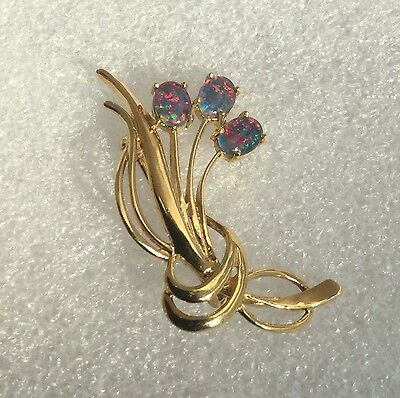Vintage Gold On Silver Pretty Flower Black Opal Cabochon Brooch Marked 'sil'