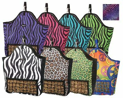 Tough-1 Slow Feed Hay Pouch in Fun Prints Tooled Leather Black