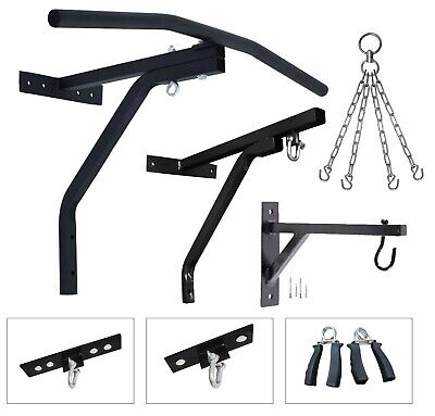 Heavy Duty Punch Bag Wall Bracket with 4 Chains Steel Mount Hanging Stand+Hooks