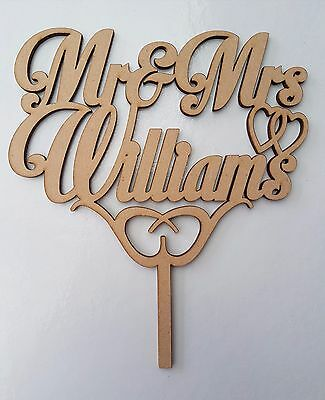 Customized  Mr & Mrs Name personalized Cake Topper  Wedding Bride Bridal Married