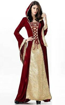 New Red/Gold Medieval Wedding Velvet Cosplay Dress Gown Corset size 10 12 14