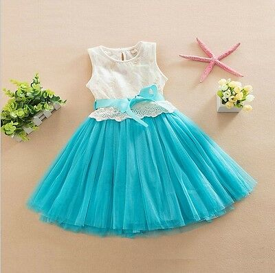 Girls Dress Frozen Elsa Dress Lace Tulle TuTu Bow Party Birthday 6 LAYERS 1-7yrs