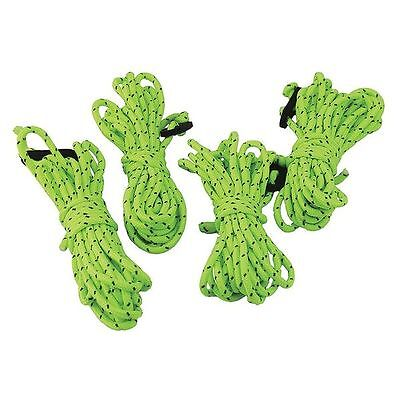 4x Hi Vis Green Guyline Tent Rope Runners Camping Guy Line Cord Paracord Safety