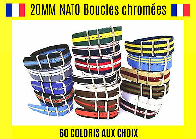 ★ Nato 20MM ★ Bracelet Montre Watch Band Strap Nylon Militaire Army Fashion Mode