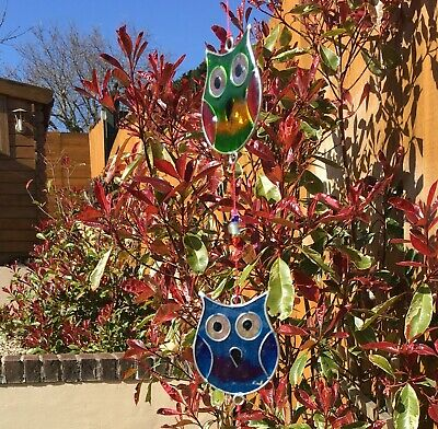 Stained Glass String Of Colourful Owls Hanging Sun Catcher-Window Decoration