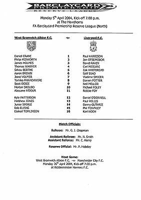 Teamsheet - West Bromwich Albion Reserves v Liverpool Reserves 2003/4