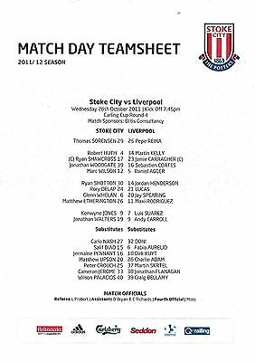 Teamsheet - Stoke City v Liverpool 2011/12 League Cup