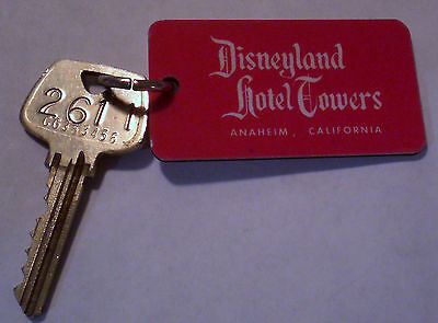 Vtg. Disneyana DISNEYLAND HOTEL TOWERS FOB and SARGENT Room Key #2611 not motel