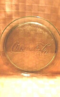 """Coca Cola Glass Plate 13"""" Serving Platter  Clear Glass  -  Gently Used"""