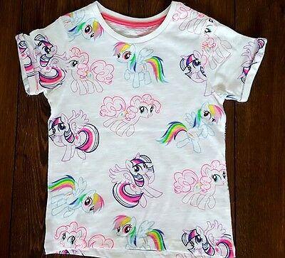 New Girls White Pink My Little Pony T Shirt Top 4 5 6 7 8 9 10 11 Years