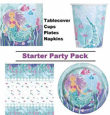 Mermaid | Fish | Seahorse 1-48 Guest Starter Party Pack Cups, Plates, Napkins