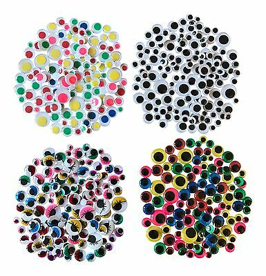 500 Googly Art Craft Wiggly Kids Stickers Wobbly Eyes Assorted