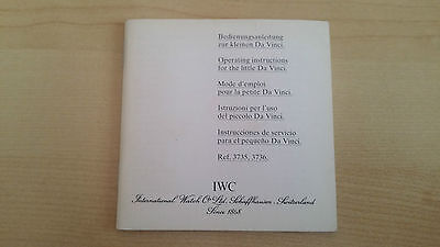 Iwc Little Da Vinci Ref. 3735 Ref. 3736 Operating Instructions Booklet