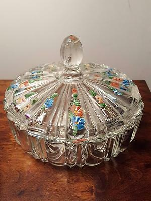 Vintage Anchor Hocking Old Cafe Candy Dish w/ Handpainted Flowers