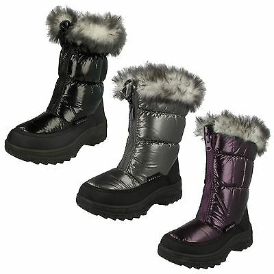 Girls Spot On Fur Lined Snow Boots