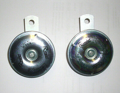Set Zweiklang Signalhorn Hupe Horn klein 71,5mm 12V 335-420Hz 103dB Moped