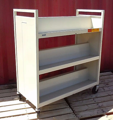 Bretford Book Truck Library Cart, 6 Sloping Shelves, Double Sided, Putty Beige