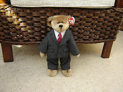 TY ATTIC TREASURE WILLIAM Teddy Bear in Suit & Tie Soft Plush MWMT Collectible