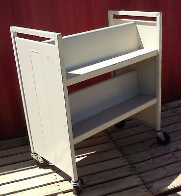 Bretford Book Truck Library Cart, 4 Sloping Shelves, Double Sided, Putty Beige