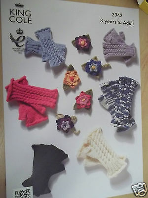 Ladies Childrens  Fingerless Gloves Knitting Pattern For 3-Adult  King Cole 2942