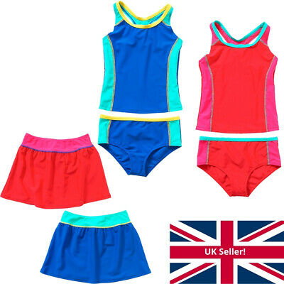 H2O Older Girls Tankini Swim Set Two Piece Sporty Style Racer Back Vest Red Blue