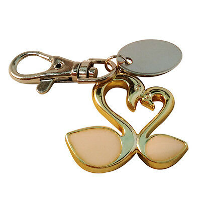 pl241 personalised green swans love keyring with gift pouch Custom Engraved