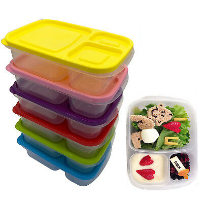 6b94ae185116 Set Of 5 Childrens Kids Plastic Lunch Boxes Sandwich Food Storage Lids Box