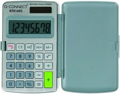 Q Connect 8 Digit Pocket Calculator Large Display Dual Powered Office Small