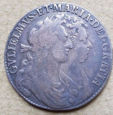 1689 William and Mary Early Silver Half Crown