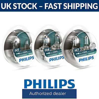 Philips Xtreme Vision +130% Headlight Bulbs H1 H4 H7 Fittings Here (Single/Pair)
